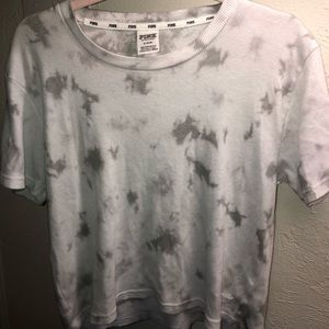 PINK grey and white tie-dye shirt